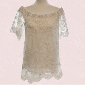Umgee white lace scalloped hem off shoulder tunic